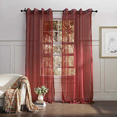 (One Panel Grommet Top) Country Elegant Red Solid Eco-friendly Sheer Curtain