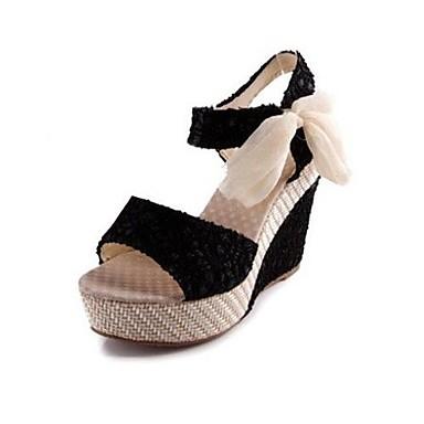 summer fall platform linen casual wedge heel