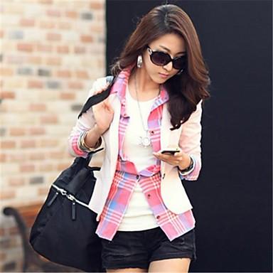Women's Blue/Pink/Black/Brown/Beige Blazer , Casual/Work Long Sleeve