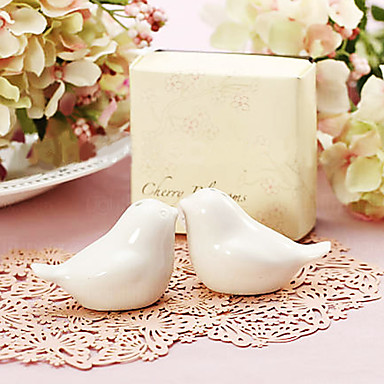 """""""Feathering the Nest"""" Birds Salt and Pepper Shakers in Cherry Blossom Gift Bo..."""