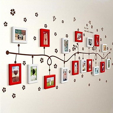2 Colors Photo Frame Set of 17 with Wall Sticker 36
