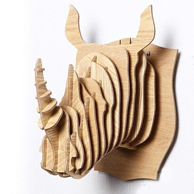 North European Creative Household Adornment Wall Cogged Structure Wood Rhinoceros Head Ornaments
