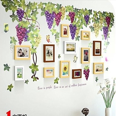 3 Color Photo Frame Set of 12 with Wall Sticker