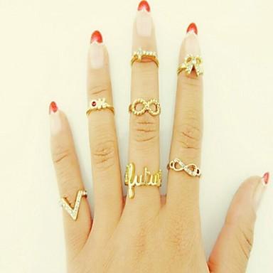Midi Rings Alloy Rhinestone Simulated Diamond Love Fashion Golden Jewelry Wedding Party Gift Daily Valentine 7pcs