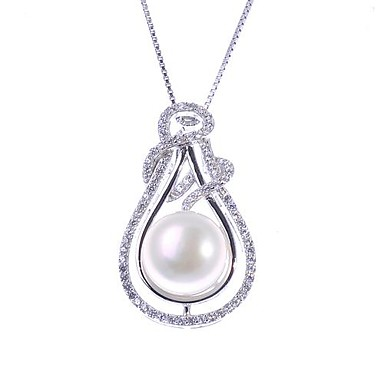 AS 925 Silver Jewelry Fashion White Pearl Necklace