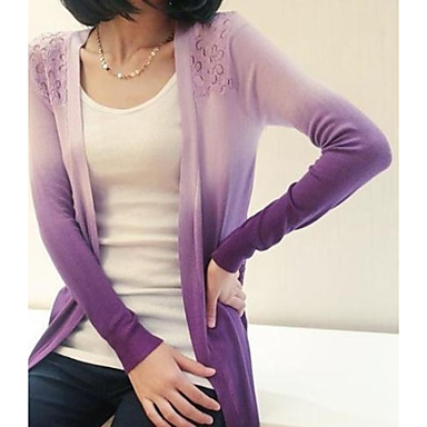 Women's Gradient Colorful Hem Knit Top Long Sleeve Cardigan Thin Sweaters