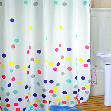 Shower Curtain Polyester Colourful Dots Print Thick Fabric Water 2 Sizes Available 892726 2016