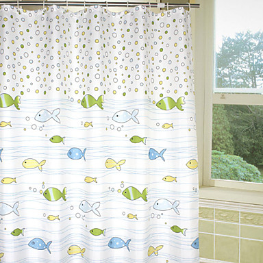 Lovely Cartoon Bubble Fish Shower Curtain 1572437 2017