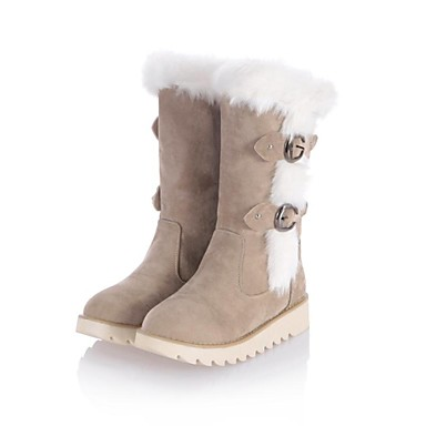 Women's Spring Fall Winter Snow Boots Leatherette Casual Flat Heel Black Brown Beige