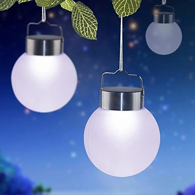 1 LED White Outdoor Solar Hanging Plastic Ball Lights For