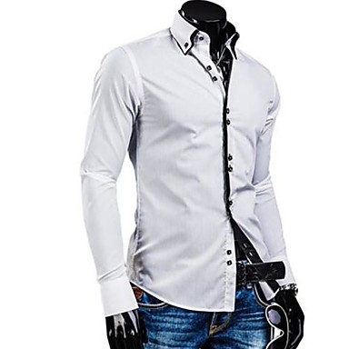 Men's White/Black/Blue Casual Stand Collar Slim Shirt