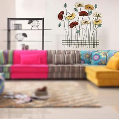 Paroi m tallique art mural d cor fleurs gracieuses for Decoration murale metallique