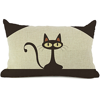 Buy Cartoon Cat Cotton/Linen Decorative Pillow Cover