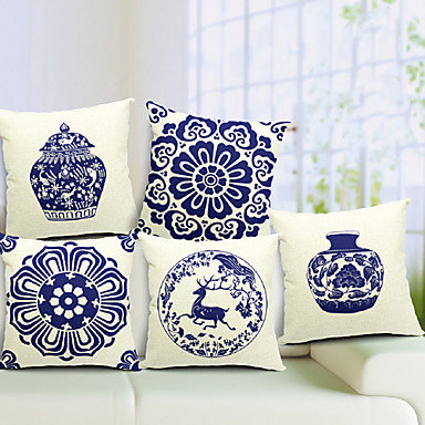 Buy Set 5 Chinese Porcelain Cotton/Linen Decorative Pillow Cover