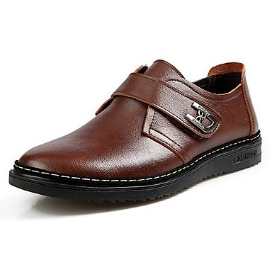 Men's Spring / Summer / Fall / Winter Closed Toe Leather Casual Flat Heel Black / Brown