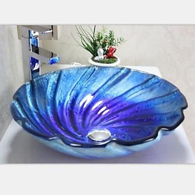 Contempor nea azul fusi n templado fregadero recipiente de vidrio con grifo conjunto 2054409 - Lavabos de vidrio ...