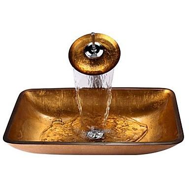 Oro rectangular templado fregadero recipiente de vidrio con grifo de cascada pop up de - Lavabo de vidrio ...