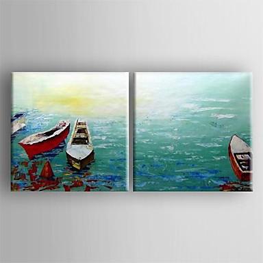 pittura a olio moderna barca insieme astratto di 2 tele dipinte a mano con Stretched ...