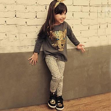 Girl Child Autumn Spring Child Set Baby Girl`s Leopard Head Long-sleeved Tshirt + Leopard Print Leggings