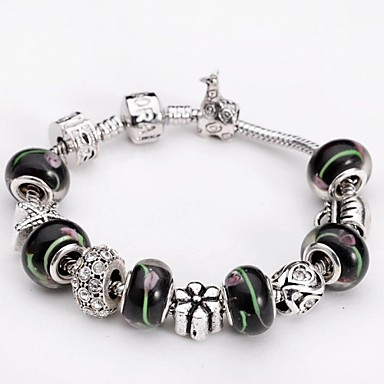 Exquisite mode farbe glas perlen armband silber schmuck for Exquisit mode