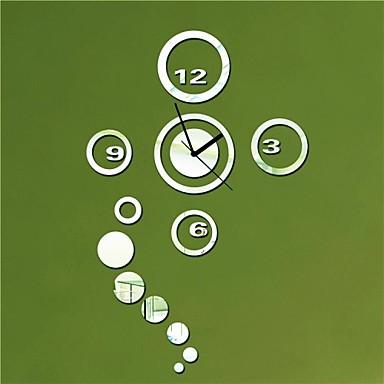 21 h moderno rotondo e cerchi lo stile 3d diy orologio da - Orologio a specchio ...