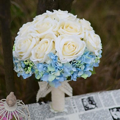 Buy Wedding Flowers Round Roses Bouquets / Party/ Evening Satin Cotton 9.06 inch(Approx.23cm)