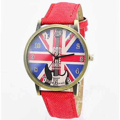 montre la mode unisexe quartz montres hommes uk cadran de drapeau bracelet en cuir d contract e. Black Bedroom Furniture Sets. Home Design Ideas