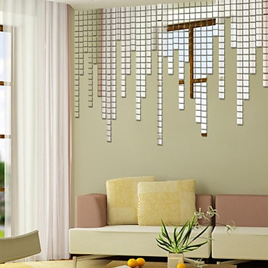 Shapes wall stickers mirror wall stickers decorative wall for Miroir autocollant ikea