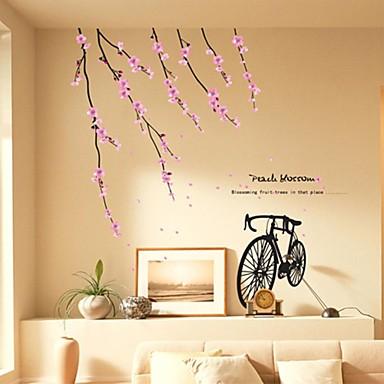 autoadesivi della parete stickers murali, adesivi murali bici pvc romantico fiore di pesca del ...