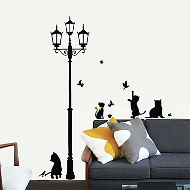 Lovely pvc under the streetlights cats wall stickers for Stickers para pared