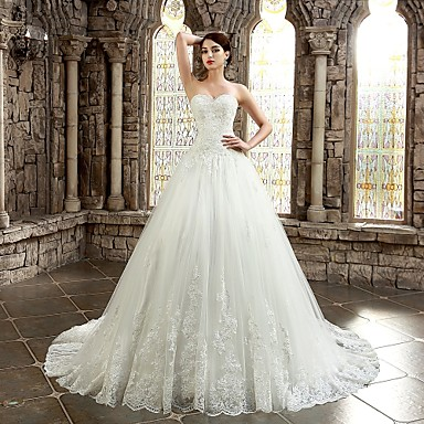 A-line Wedding Dress - Classic & Timeless Lacy Look Chapel Train Sweetheart Lace with Appliques