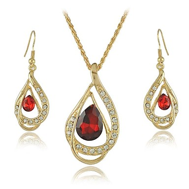 Buy 18K Yellow Gold Filled Ruby Blue Clear Austrian Crystal Pendant Necklace Jewelry Sets (More Colors)