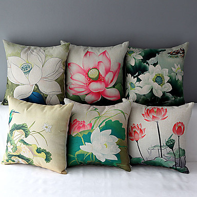 Buy Set 6 Rural Style Lotus Patterned Cotton/Linen Decorative Pillow Cover