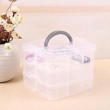 Tres cajas de almacenamiento de pl stico de nivel for Cajas de plastico transparente