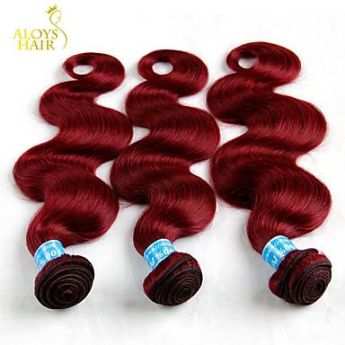 Buy Lot 12 inch-28 inch Peruvian Virgin Hair Body Wave Wavy Burgundy Wine Red 99J Remy Human Weave Bundles Tangle Free 6A