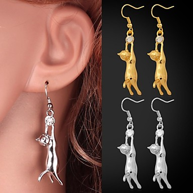 Buy U7® Lovely Girl's 18K Gold Plated Earrings Cute Kitty Cat Drop Rhinestone Jewelry Women