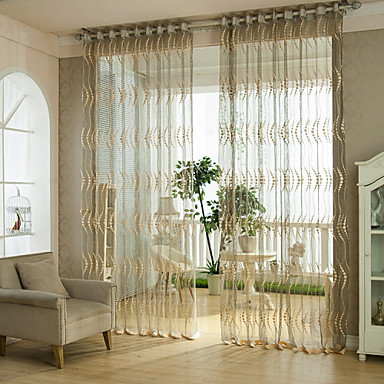 Two Panels Jacquard Wave Sheer Curtains Drapes 4468303 2017 – $37.39