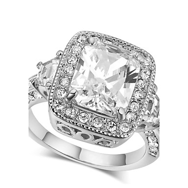 Buy HKTC Wedding Jewelry 18k White Gold Plated Square Cubic Zirconia Proposal Ring Unisex Big Stone