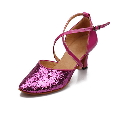 s shoes paillette chunky heel pink
