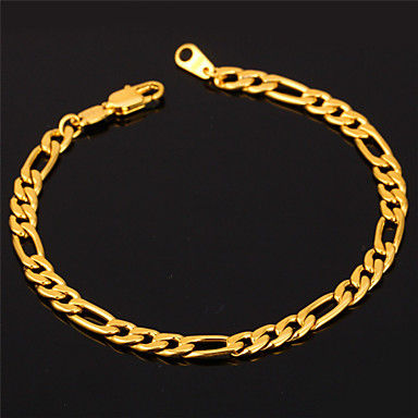 Buy U7® 18K Gold Filled Figaro Chain Bracelet Men Women 4MM 19.5CM