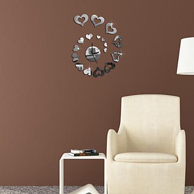 Decalcomanie adesivi murali della parete a specchio il cuore dell 39 orologio adesivi murali - Specchio a cuore ...