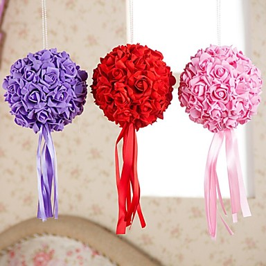 Buy 6 Inch Foam Santin Artifiical Kissing Rose Flowers Balls Wedding Bouquet Car Decoration