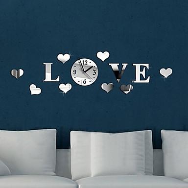 Buy Hearts Love DIY Luxury Wall Art Acrylic Clock Mirror Stickers Home Decoration (Silver)