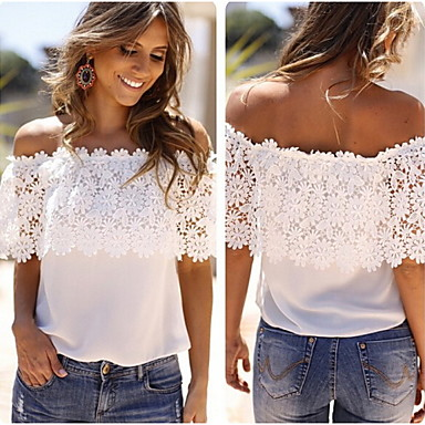 Women's Off-the-shoulder T-Shirts , Lace Sexy/Casual Short Sleeve Collins