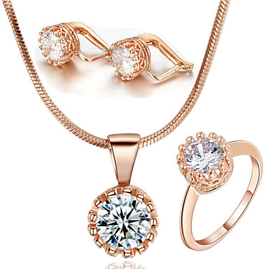 Buy HKTC Classic 18k Rose Gold Plated Swiss Cubic Zircon Stone Crown Style Ring Necklace Earrings Set