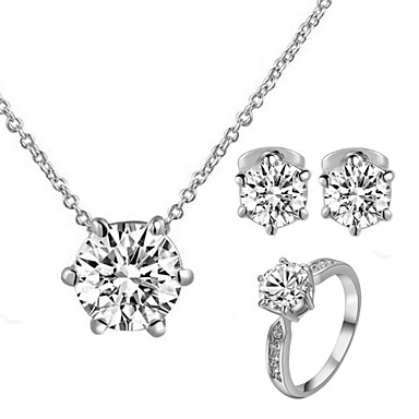 Buy T&C Women's Concise 18K White Gold Plated 6 Prongs Simulated Diamond Stone Pendant Necklace Earrings Ring Set