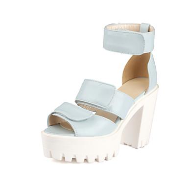 Zapatos de mujer tac n robusto tacones sandalias for Zapatos de trabajo blancos