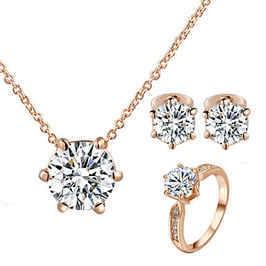 Buy HKTC Concise 18k Rose Gold Plated 6 Prongs Simulated Diamond Ring Necklace Earrings Jewelry Set