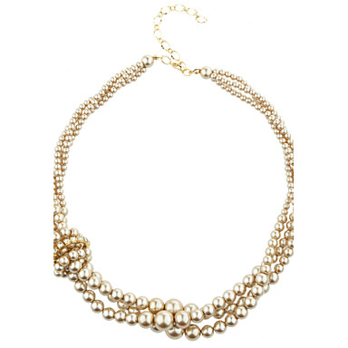 Champagne Three Strand Twisted Glass Pearl Necklace