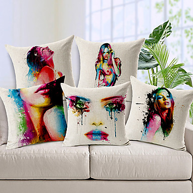 Buy Set 5 Body painting Colorful Flower Cotton/Linen Decorative Pillow Cover